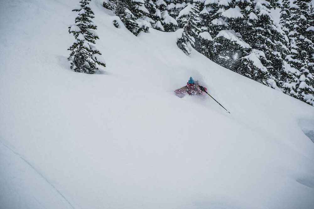 Erme Catino getting pitted in the Tom George Trees, Burnie Glacier, Howson Range, BC.