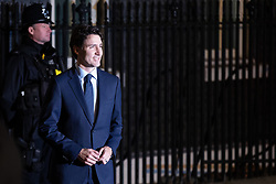 © Licensed to London News Pictures. 03/12/2019. London, UK. Prime Minister of Canada Justin Trudeau arrives at 10 Downing Street for a reception hosted by UK Prime Minister Boris Johnson. International leaders are visiting the UK for to mark the 70th anniversary of the North Atlantic Treaty Organisation (NATO) Photo credit : Tom Nicholson/LNP