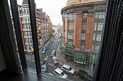 **Home supplement** © Ben Cawthra. 22/01/2013. A view over Harrods department store from a living area at the penthouse apartment of The Lansbury, on Basil Street, London, recently refurbished in to 6 luxury apartments opposite Harrods in central London. Photo credit: Ben Cawthra.