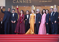 Will Smith, Gabriel Yared, Agnes Jaoui, Park Chan-wook, Jessica Chastain, Pedro Almodovar, Fan Bingbing, Maren Ade, Paolo Sorrentino at the 70th Anniversary Ceremony arrivals at the 70th Cannes Film Festival Tuesday 23rd May 2017, Cannes, France. Photo credit: Doreen Kennedy
