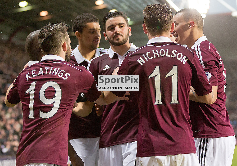 Hearts v Cowdenbeath Scottish Championship 28 February 2015; Alim Öztürk (Hearts, 5) celebrates with team mates during the Heart of Midlothian v Cowdenbeath Scottish Championship match played at Tynecastle Stadium, Edinburgh;