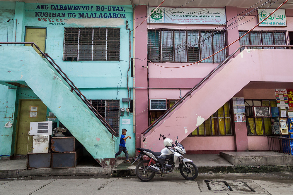 Davao City, Mindanao, Philippines - JUNE 22: The office of Mini Forest Barangay 23C. Thousands have fled Marawi to flee the ongoing conflict after the ISIS backed Maute Group has sieged the city. Currently, over 570 families and roughly 2500 evacuees from Marawi reside in the Mini Forest.