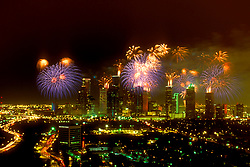 Stock photo of Fourth of July fireworks over downtown Houston