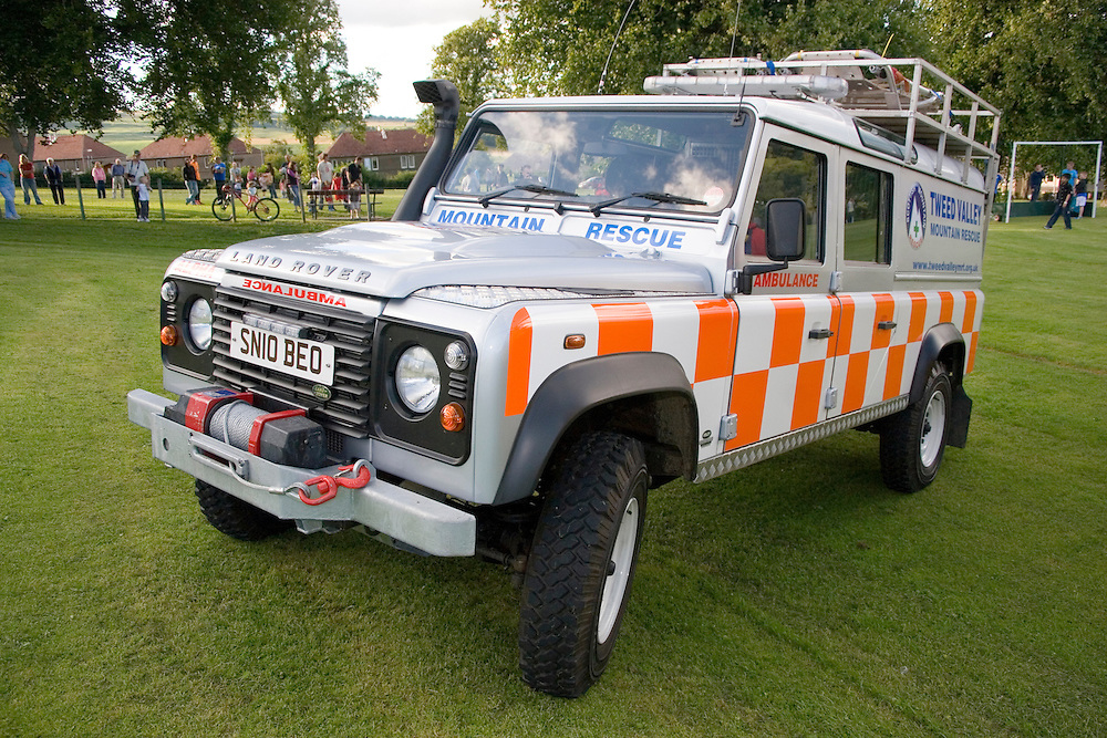 Tweed Valley Mountain rescue on exercise with RAF Search and Rescue in Selkirk with a new off road Landrover ambulance