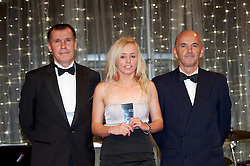 CARDIFF, WALES - Monday, October 8, 2012: Wales' Nadia Lawrence receives the young player of the year award from women's manager Jarmo Matikainen and Andy Beattie (Sixty Sixty Coaches) during the FAW Player of the Year Awards Dinner at the National Museum Cardiff. (Pic by David Rawcliffe/Propaganda)