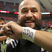 NZ 7's All Black, D.J. Forbes, played for NZ, the People of Samoa and carried his love for his children on his wrist throughout NZ's 19-14 Canada 7's victory over a resilient South African Springbok 7's team.  Photo by Barry Markowitz, 3/13/16, BC Place Stadium, Vancouver, British Columbia, Canada.