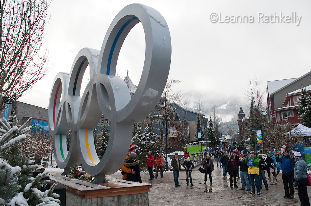 Fresh snow decorates the olympic rings in Whistler Village during the 2010 Olympic Winter Games.