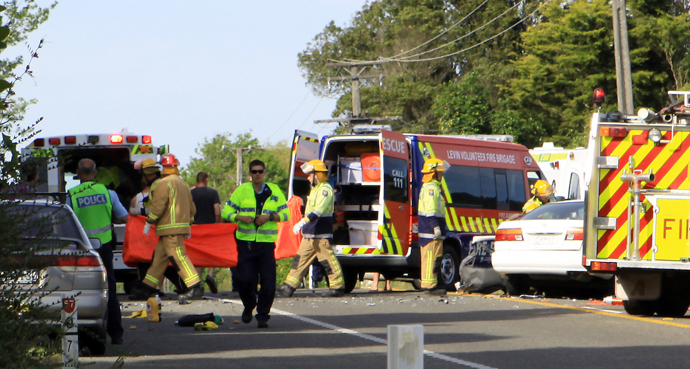 The scene at a fatal crash on SH57 near Levin, New Zealand, Sunday, December 16, 2012. Credit:SNPA / Jared Smith..