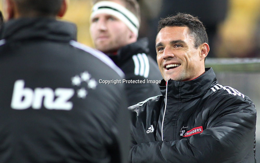 Crusaders' Dan Carter watches on as a scuffle erupts on the pitch during the Round 17 Super Rugby match, between the Hurricanes & Crusaders. Westpac Stadium, Wellington. 28 June 2014. Photo.: Grant Down / www.photosport.co.nz