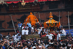 September 10, 2017 - Kathmandu, Nepal - People participate in a procession of chariots of Ganesh, Kumari and Bhairav during the last day of  Indrajatra festival at Hanuman Dhoka Durbar Square. Indra Jatra is an eight day festival with a chariot procession dedicated to Goddess Kumari, Lord Ganesh and Bhairav, as well as worshiping Indra, the king of gods. (Credit Image: © Archana Shrestha/Pacific Press via ZUMA Wire)