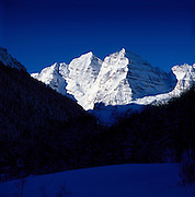 Winter Scenic of the Maroon Bells in the Maroon Bells Snowmass Wilderness near Aspen, Colorado.
