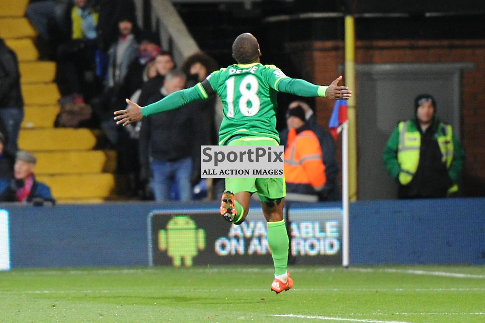 Sunderland's Jermain Defoe celebrates his goal which puts his side 1-0 up during Crystal Palace's clash with Sunderland in the Barclays Premier League at Selhurst Park