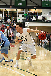 20 February 2016:  Bryce Dolan(13) during an NCAA men's division 3 CCIW basketball game between the Elmhurst Bluejays and the Illinois Wesleyan Titans in Shirk Center, Bloomington IL