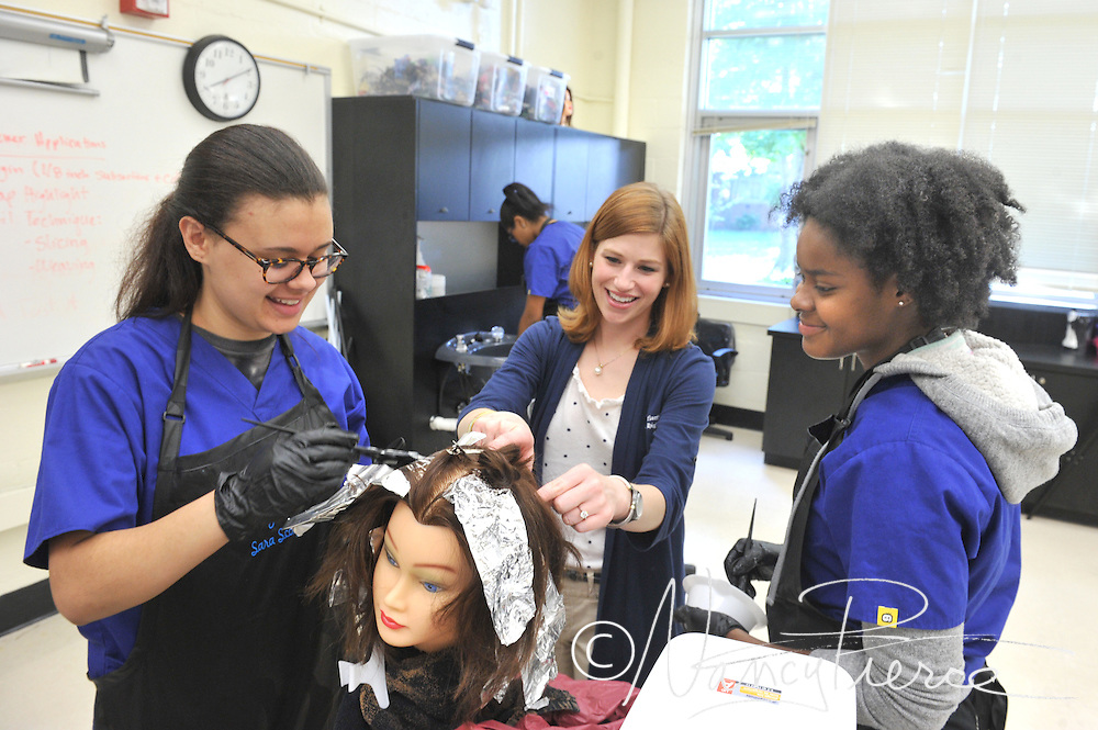 CTE -- Cosmetology   NMHS   Teacher in this photo is Melissa Prickett