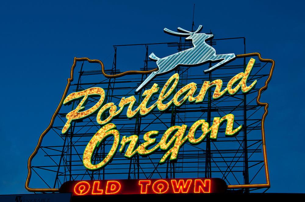 Portland, Oregon sign at dusk; Old Town Portland.