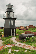 Fort Jefferson and Garden Key Lighthouse and cannon