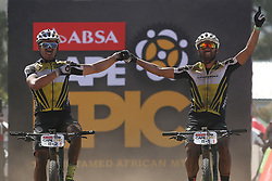 Henrique Avancini and Manuel Fumic of Cannondale Factory Racing XC celebrate winning stage 1 during stage 1 of the 2017 Absa Cape Epic Mountain Bike stage race held from Hermanus High School in Hermanus, South Africa on the 20th March 2017<br /> <br /> Photo by Dominic Barnardt/Cape Epic/SPORTZPICS<br /> <br /> PLEASE ENSURE THE APPROPRIATE CREDIT IS GIVEN TO THE PHOTOGRAPHER AND SPORTZPICS ALONG WITH THE ABSA CAPE EPIC<br /> <br /> ace2016