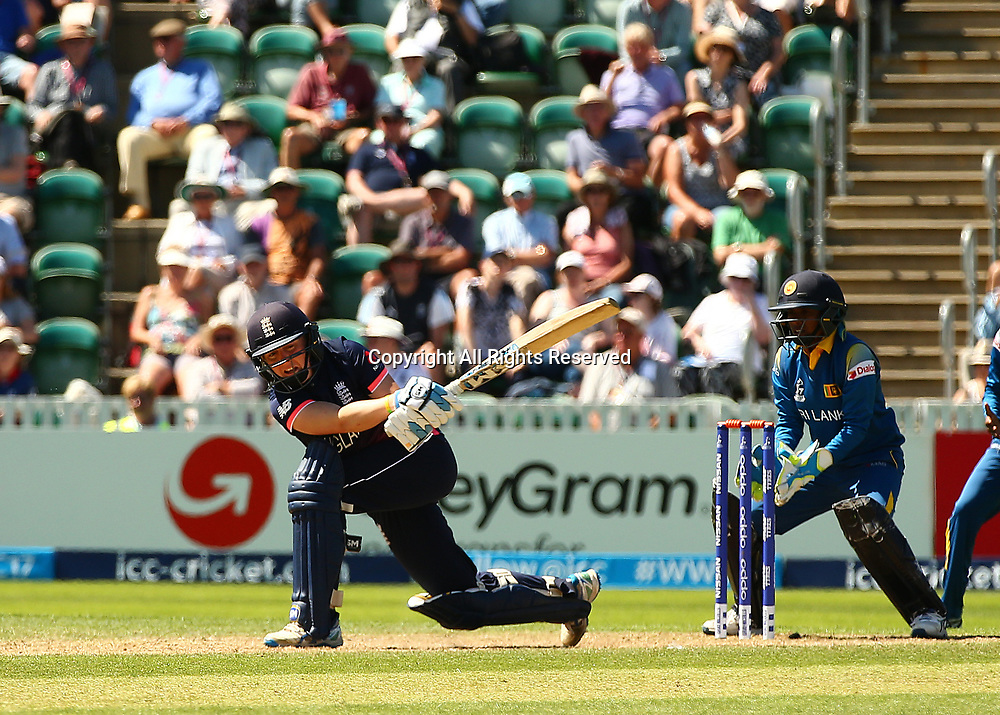 July 2nd 2017, The Cooper Associates County Ground, Taunton, England; The ICC Womens World Cup; England Women versus Sri Lanka Women; England Captain Heather Knight in batting action