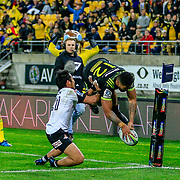 Vince Aso  scores during the Super Rugby union game between Hurricanes and Sunwolves, played at Westpac Stadium, Wellington, New Zealand on 27 April 2018.   Hurricanes won 43-15.