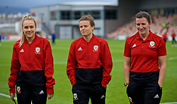 NEWPORT, WALES - Tuesday, September 3, 2019: Wales' Josie Green, Hayley Ladd and Helen Ward on the pitch before the UEFA Women Euro 2021 Qualifying Group C match between Wales and Northern Ireland at Rodney Parade. (Pic by David Rawcliffe/Propaganda)
