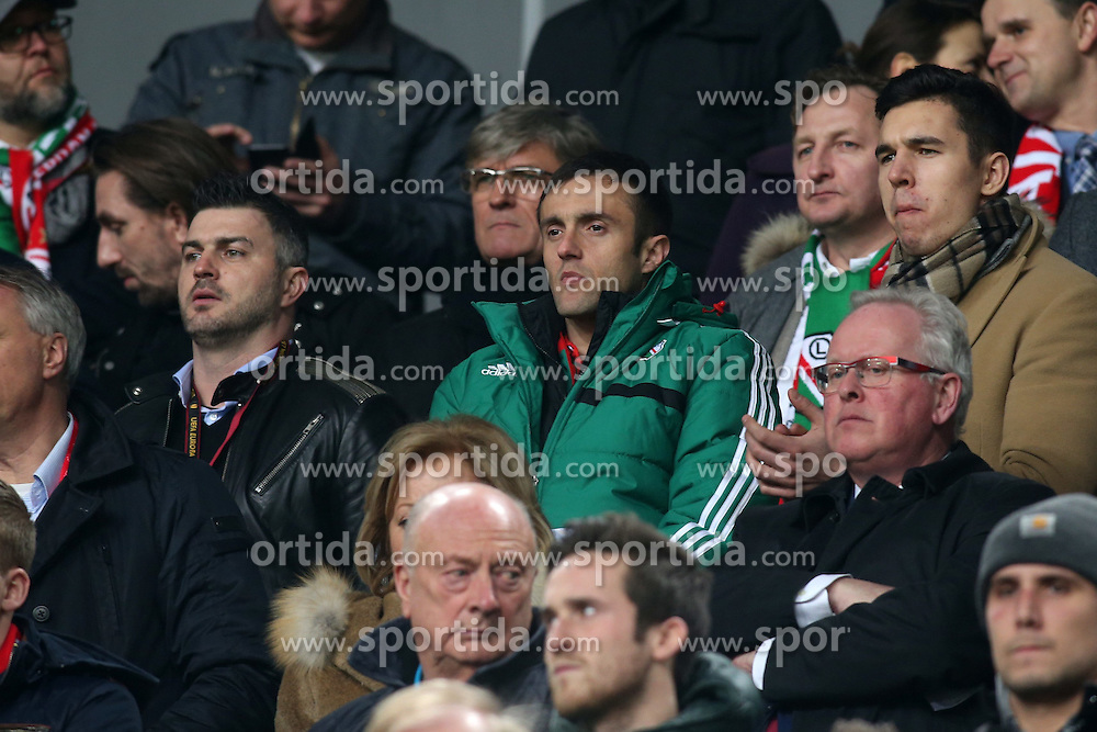19.02.2015, Pepsi Arena, Warschau, POL, UEFA EL, Legia Warschau vs Ajax Amsterdam, 1. Runde, Hinspiel, im Bild MICHAL ZEWLAKOW MIROSLAV RADOVIC ALEKSANDER WANDZEL // during the UEFA Europa League 1st Round, 1st Leg match between Legia Warschau and Ajax Amsterdam at the Pepsi Arena in Warschau, Poland on 2015/02/19. EXPA Pictures &copy; 2015, PhotoCredit: EXPA/ Newspix/ Piotr Kucza<br /> <br /> *****ATTENTION - for AUT, SLO, CRO, SRB, BIH, MAZ, TUR, SUI, SWE only*****