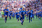Ball kids run off of the field prior to the start of the MLS soccer game between FC Cincinnati and the New England Revolution, Sunday, July 21, 2019, in Cincinnati, OH. The Revolution defeated FC Cincinnati 2-0.(Jason Whitman/Image of Sport)
