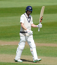 Middlesex's Adam Voges celebrates his half century. - Photo mandatory by-line: Harry Trump/JMP - Mobile: 07966 386802 - 29/04/15 - SPORT - CRICKET - LVCC Division One - County Championship - Somerset v Middlesex - Day 4 - The County Ground, Taunton, England.