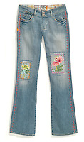 parrot jeans faded with flower patches