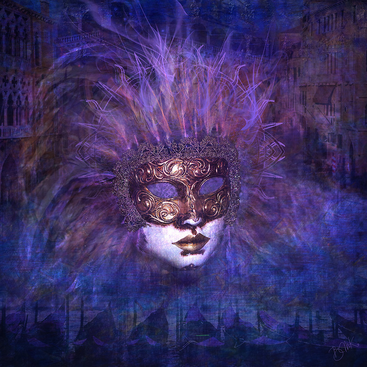 Glowing copper carnival mask against purple and blue nights scenes of Venice