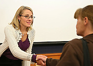 Maria La France of Des Moines greets people after giving a testimony about her son who has epilepsy during a forum about medical cannabis at the Iowa City Public Library in Iowa City on Tuesday, November 19, 2013.