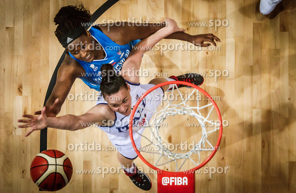 Shante Evans of Slovenia vs Martina Crippa of Italy during basketball match between Women National teams of Italy and Slovenia in Group phase of Women's Eurobasket 2019, on June 30, 2019 in Sports Center Cair, Nis, Serbia. Photo by Vid Ponikvar / Sportida