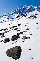 South side of Mt. Rainier in Mt. Rainier National Park showing the Nisqually glacier and the Muir snow field.