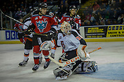 KELOWNA, CANADA - NOVEMBER 5:  Nick Schneider #31 of the Medicine Hat Tigers makes a save against Rodney Southam #17 of the Kelowna Rockets at the Kelowna Rockets game on November 5, 2016 at Prospera Place in Kelowna, British Columbia, Canada.  (Photo By Cindy Rogers/Nyasa Photography,  *** Local Caption ***  Calvin Thurkauf #27 of the Kelowna Rockets, Clayton Kirichenko #4 of the Medicine Hat Tigers