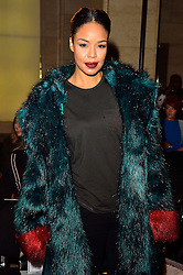 © Licensed to London News Pictures. 19/02/2016. SARAH JANE CRAWFORD attends the FELDER FELDER Autumn/Winter 2016 show. Models, buyers, celebrities and the stylish descend upon London Fashion Week for the Autumn/Winters 2016 clothes collection shows. London, UK. Photo credit: Ray Tang/LNP