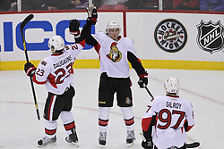 Apr 7; Newark, NJ, USA; Ottawa Senators center Jim O'Brien (42) celebrates his goal against New Jersey Devils goalie Martin Brodeur (30) during the second period at the Prudential Center.