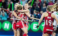 LONDON -  Unibet Eurohockey Championships 2015 in  London.  England v Germany .  Alex Danson (m) scored 2-0 for England.   left Susannah Townsend and Shona Mccallin .  WSP Copyright  KOEN SUYK