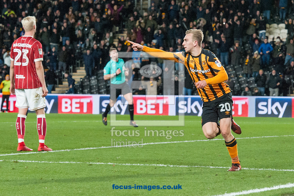 Jarrod Bowen of Hull City celebrates after scoring his sides second goal during the Sky Bet Championship match at the KCOM Stadium, Hull<br /> Picture by Matt Wilkinson/Focus Images Ltd 07814 960751<br /> 25/11/2017