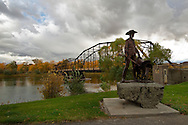 Fort Benton, Montana, Rider of the Purple Sage sculpture started by George Montgomery in 2000, finished by Gary Schildt in 2003, Fort Benton Bridge