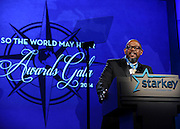 """Gala honoree Forest Whitaker speaks at the Starkey Hearing Foundation's """"So the World May Hear"""" Awards Gala on Sunday, July 20, 2014 in St. Paul, Minn. The foundation gives away more than 100,000 hearing aids in the U.S. and around the world annually. (Photo by Diane Bondareff/Invision for Starkey Hearing Foundation/AP Images)"""