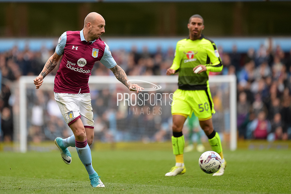 Aston Villa defender Alan Hutton (21) crosses during the EFL Sky Bet Championship match between Aston Villa and Reading at Villa Park, Birmingham, England on 15 April 2017. Photo by Dennis Goodwin.