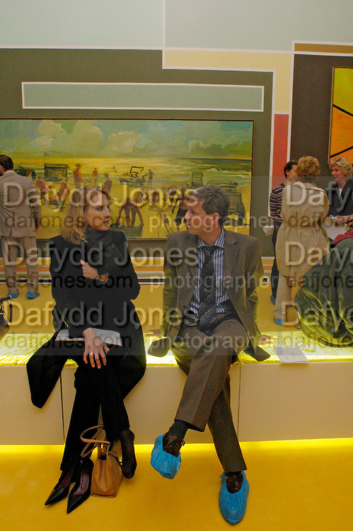 Julie Burchardi and Peter Klemsch. Anton Henning-Sandpipers, Lizards and History. Haunch of Venison private view. 27 April 2005. ONE TIME USE ONLY - DO NOT ARCHIVE  © Copyright Photograph by Dafydd Jones 66 Stockwell Park Rd. London SW9 0DA Tel 020 7733 0108 www.dafjones.com