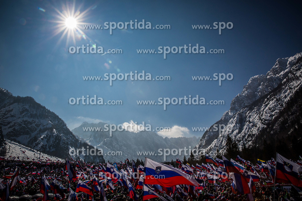 Slovenian flags during Ski Flying Hill Individual Competition at Day 4 of FIS Ski Jumping World Cup Final 2016, on March 20, 2016 in Planica, Slovenia. Photo by Vid Ponikvar / Sportida