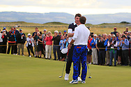 Thomas Sloman (GB&I) wins on the 18th green during Day 2 Singles at the Walker Cup, Royal Liverpool Golf CLub, Hoylake, Cheshire, England. 08/09/2019.<br /> Picture Thos Caffrey / Golffile.ie<br /> <br /> All photo usage must carry mandatory copyright credit (© Golffile   Thos Caffrey)