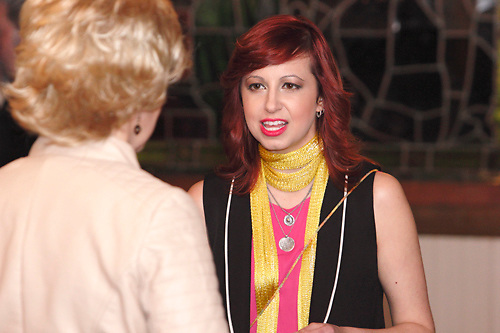 """Tamra Francis as Gail Augury (left) and Heather Atkinson as Blair Caterwaul during Mayhem & Mystery's production of """"Newsworthy Nemesis"""" at the Spaghetti Warehouse in downtown Dayton, Friday, March 9, 2012."""