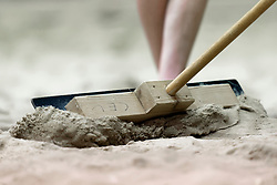 04-01-2020 NED: NK Beach volleyball Indoor, Aalsmeer<br /> Beach item, sand preparing