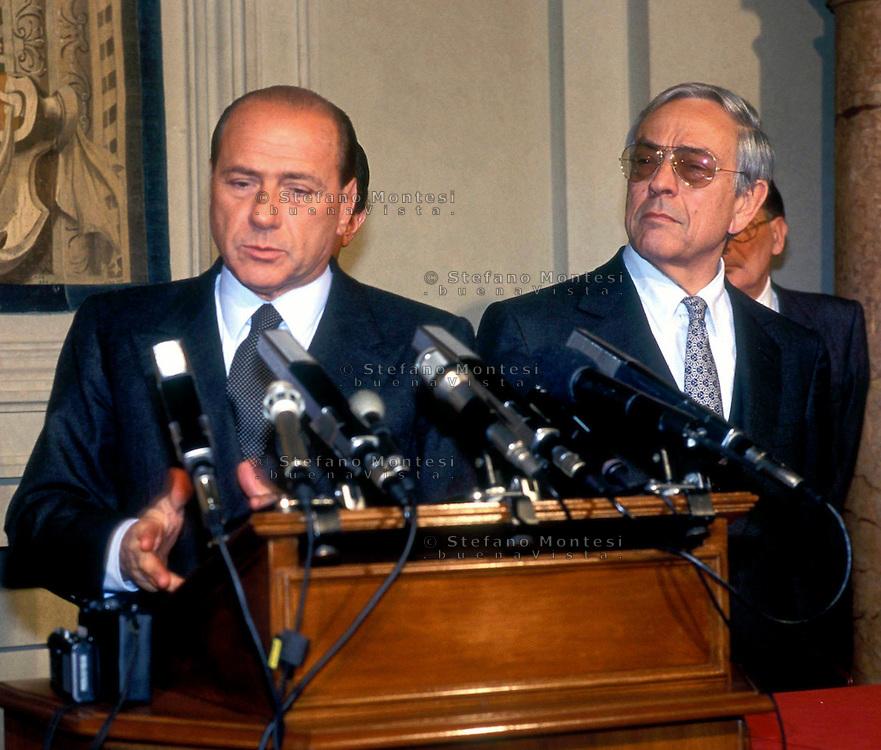 Roma Quirinale 1994.Silvio Berlusconi con Cesare Previti per le consultazioni per il governo
