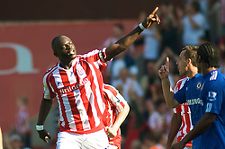 STOKE, ENGLAND - Saturday, September 12, 2009: Stoke City's Abdoulaye Diagne-Faye celebrates scoring the opening goal against Chelsea during the Premiership match at the Britannia Stadium. (Pic by Gareth Davies/Propaganda)
