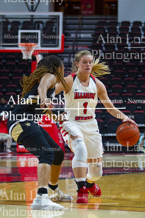 NORMAL, IL - October 30: McKenna Sims defended by Hennessey Handy during a college women's basketball game between the ISU Redbirds and the Lions on October 30 2019 at Redbird Arena in Normal, IL. (Photo by Alan Look)