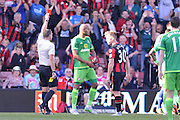 Sunderland AFC defender Younes Kaboul (centre) gets the red card during the Barclays Premier League match between Bournemouth and Sunderland at the Goldsands Stadium, Bournemouth, England on 19 September 2015. Photo by Mark Davies.
