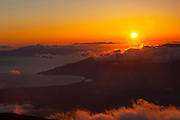 Sunset from summit, Haleakala National Park, Maui, Hawaii